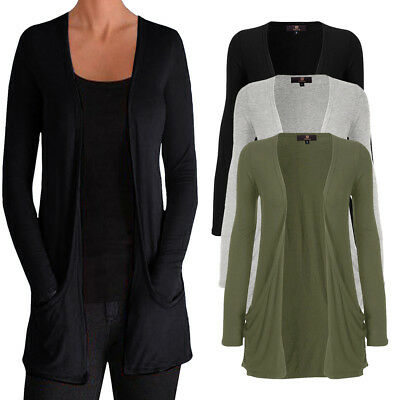 UK Ladies Long Sleeve Loose Boyfriend Cardigan with Pockets Plus Sizes Tops