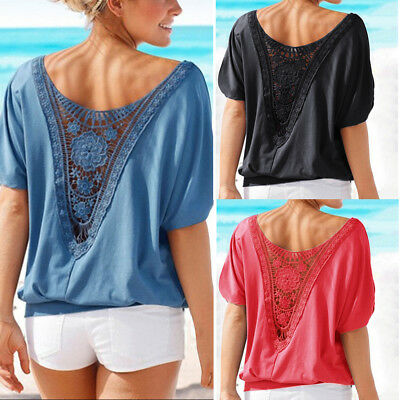 AU Women's Summer Loose Blouse Ladies Short Sleeve Shirt Casual Tops Plus Size