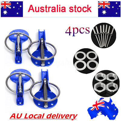 4x Engine Bonnet Lock Pins Set Side Hold Down Clamp Performance Race Catch Latch