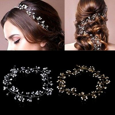 Luxury Wedding Bridal Rhinestone Headband Tiara Hair Chain Faux Pearl Headpiece