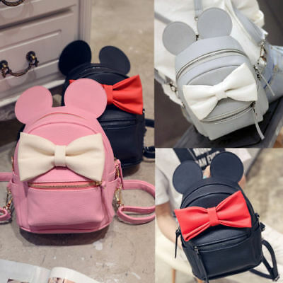 Women PU Leather Backpack Bow Mickey Mouse Mini Travel Shoulder Bag RucksackCute