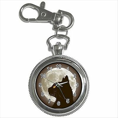 NEW* HOT BLACK CAT FULL MOON Silver Color Tone Key Chain Ring Watch Gift