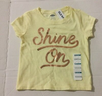 New Girls Old Navy Short Sleeve Yellow T Shirt Size 18-24 Months