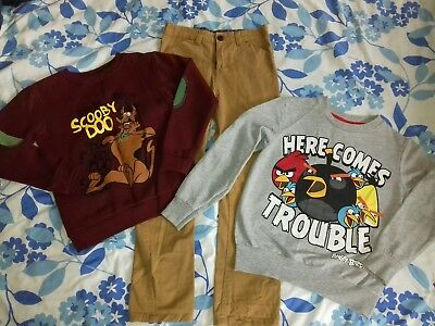 Boys bundle 2 sweatshirts and trousers angry birds Scooby doo 7-8 yrs
