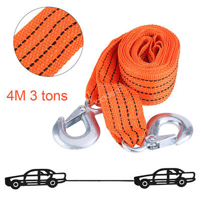 3 Ton 4M Car Tow Cable Towing Strap Rope with Hooks Emergency Heavy Duty 13.12FT