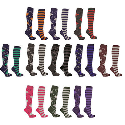Mark Todd Ladies Argyle Stripe Twin Pack Horse Riding Eventing Knee Length Socks