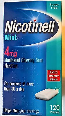 NICOTINELL MINT GUM 4mg Medicated Chewing Gum Sugar Free 120 pieces EXP 10/18