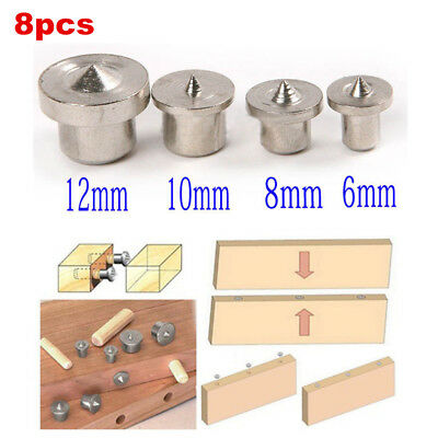 8Pcs Dowel Drill Centre Points Pin Wood 6-12mm Dowel Tenon Center For Drill Hole