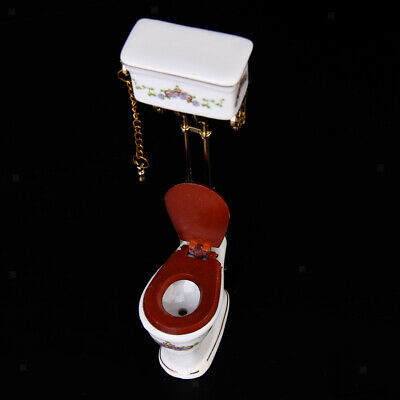 Dollhouse Miniature Bathroom Furniture 1:12 Victorian Toilet Closestool Toy