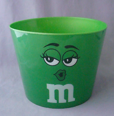 "green with seductive m&m character popcorn tub bucket plastic 7"" diameter"