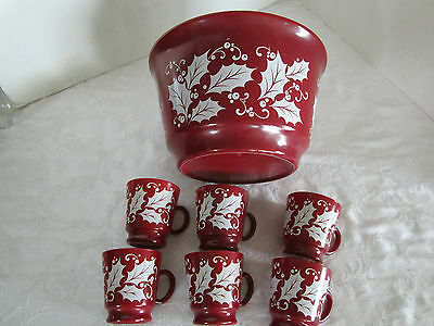 Anchor Hocking 7 Set Berry Red Holly Eggnog Punch Bowl Cups Wassail Tom Jerry