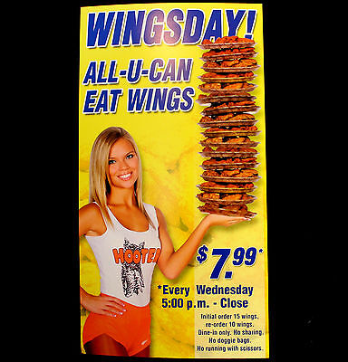 2002 Hooters Wingsday All U Can Eat  Promo Sign Mini Poster girl in uniform