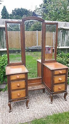 Dressing table - 1930's - 2 x 3 drawers - full height & wing mirrors - solid oak