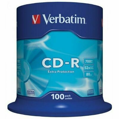 Verbatim 80 Minute 700MB Non Print Blank CDR Discs (spindle of 100)