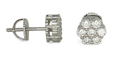 Mens Womens Cluster Silver Plated Cz Studs Iced Out Screw Back Hip Hop Earrings