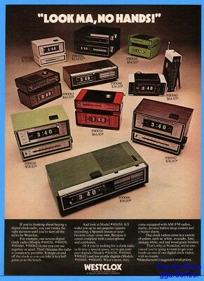 1973 Westclox Digital Clock Radio Portable Two Piece White Avocado Lime Print Ad
