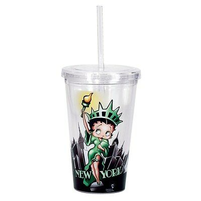 Betty Boop Acrylic Drinking Cup with Straw: Lady Liberty/New York New In Box