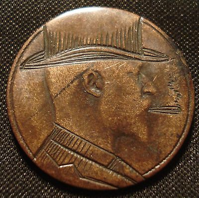 Rare Wwi Trench Art Engraved 1907 Halfpenny King Edward Vii In Top Hat Smoking