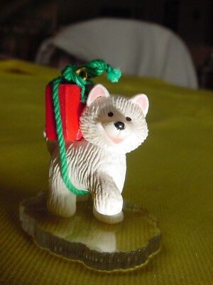 MINIATURE HUSKY Dog Hallmark CHRISTMAS ORNAMENT Frosty Friends 1990 w box
