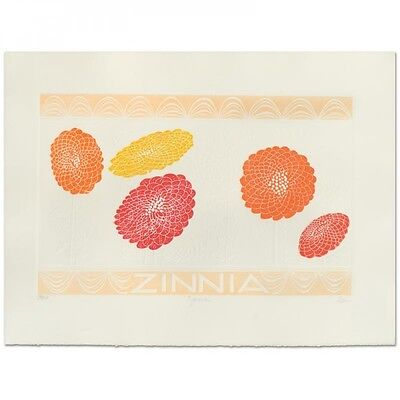 """Hari Hockey Signed """"Zinnia"""" Limited Edition Embossed 29.5"""" x 22"""" Lithograph NR!"""