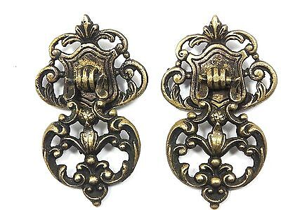 Antique 2 SOLID BRASS VICTORIAN DRAWER PULLS ORNATE Cabinet DOOR KNOBS c.19th?