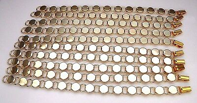 """SET of 10 GOLD PLATED BRACELETS BLANKS 8-1/4"""" LONG WITH 13 PADS FINDING (BQ5)"""