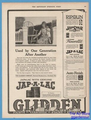 1923 Glidden Company Cleveland Ohio Japalac varnish stain furniture paints ad