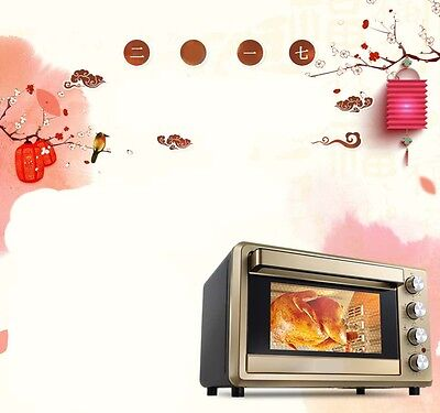 38L Commercial Home Black+Gold Multi-function Heating Benchtop Electric Oven *