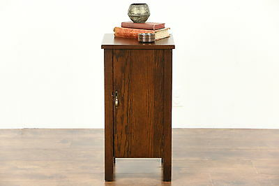 Arts & Crafts Mission Oak Antique Chairside Humidor or Liquor Cabinet