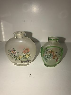 Lot of 2 Chinese Carved Glass Inside Painted Snuff Bottle