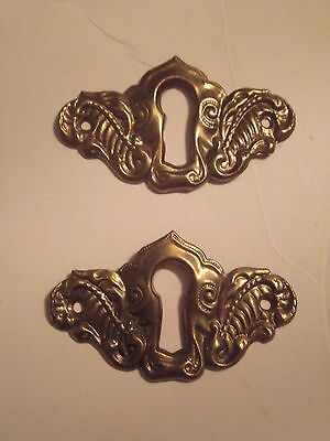 Stamped BRASS FANCY ESCUTCHEON KEYHOLE KEY HOLE COVERS LOT of 2
