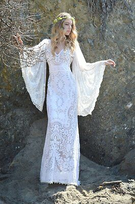 Vintage Sheer Angel Sleeves Lace V Neck Hippie Boho Bohemian WEDDING Maxi Dress