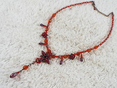 Red Orange Bead Pendant Necklace (C45)