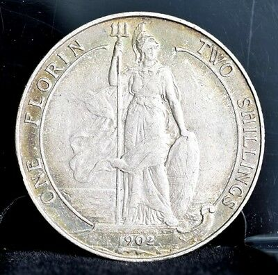 1902 Great Britain Florin 2 Shillings Silver - XF