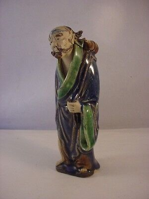 Antique Chinese MudMan Mud Man Figurine w/Brown Water Vessel