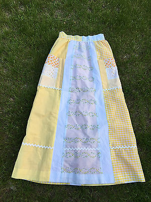 Vintage 1970s Mod Women Clothing Yellow Patchwork Full Length Maxi Skirt Pockets