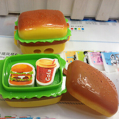 Stationery Hamburger Pencil Sharpener with Two Rubbers Eraser Student Kid