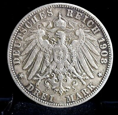 1908-A Germany Prussia  Drei Mark Silver - XF