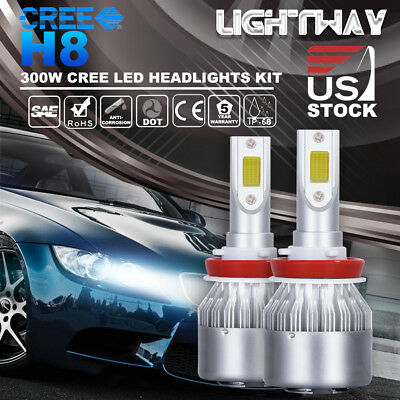 2017 H8 H9 H11 2x150W 30000LM CREE LED Headlight Kit Beam Bulbs 6500K High Power