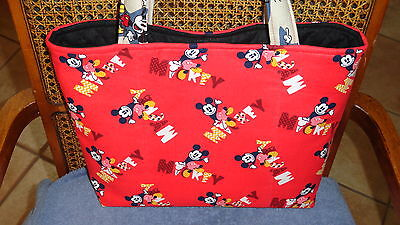 Everyone's Favorite Disney Mickey Mouse On Red  Baby Diaper Bag~Handmade