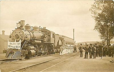 """Real Photo Postcard. Train With """"Devil's Slide"""" Banner. Probably CA"""