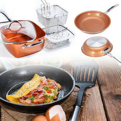 Induction Copper Round Pan & Set Square Pan,Chef Glass Lid,Fry Basket,Steam Rack