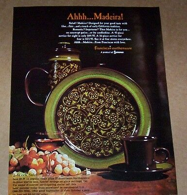1969 ad page - Franciscan MADEIRA Dinnerware Earthenware Vintage PRINT ADVERT