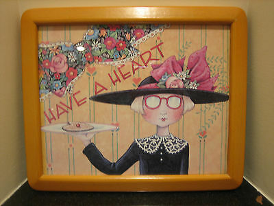 Mary Engelbreit HAVE A HEART Girl with Cookie Hat Wood Framed Print Picture 8x10