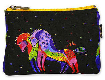 New LAUREL BURCH Cosmetic Bag MYTHICAL HORSES Pouch Case Purse MARE PONY Black