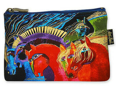 LAUREL BURCH Cosmetic Bag MYTHICAL HORSES Pouch Case Purse MARE PONY Red Makeup
