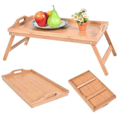 Bed Eat Food Bamboo Tray Breakfast Tray with Folding Legs Bamboo Table Home Loft