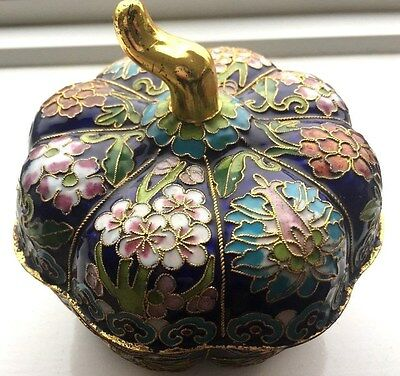 Enamel Cloisonne Trinket pot with stunning decoration Pumpkin or Squash design