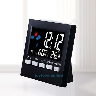 Digitale Funk Wetterstation Funkuhr Thermometer Hygrometer LED Farbdisplay