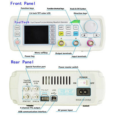 Digital FY6600 15-60MHz 2 Channel DDS Function Signal Generator Waveform Kit al